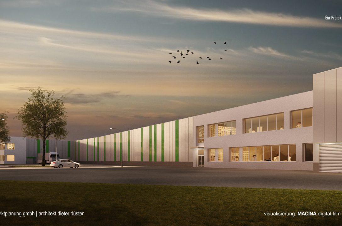 Studie für eine Produktionshalle mit Verwaltungs- und Sozialgebäude