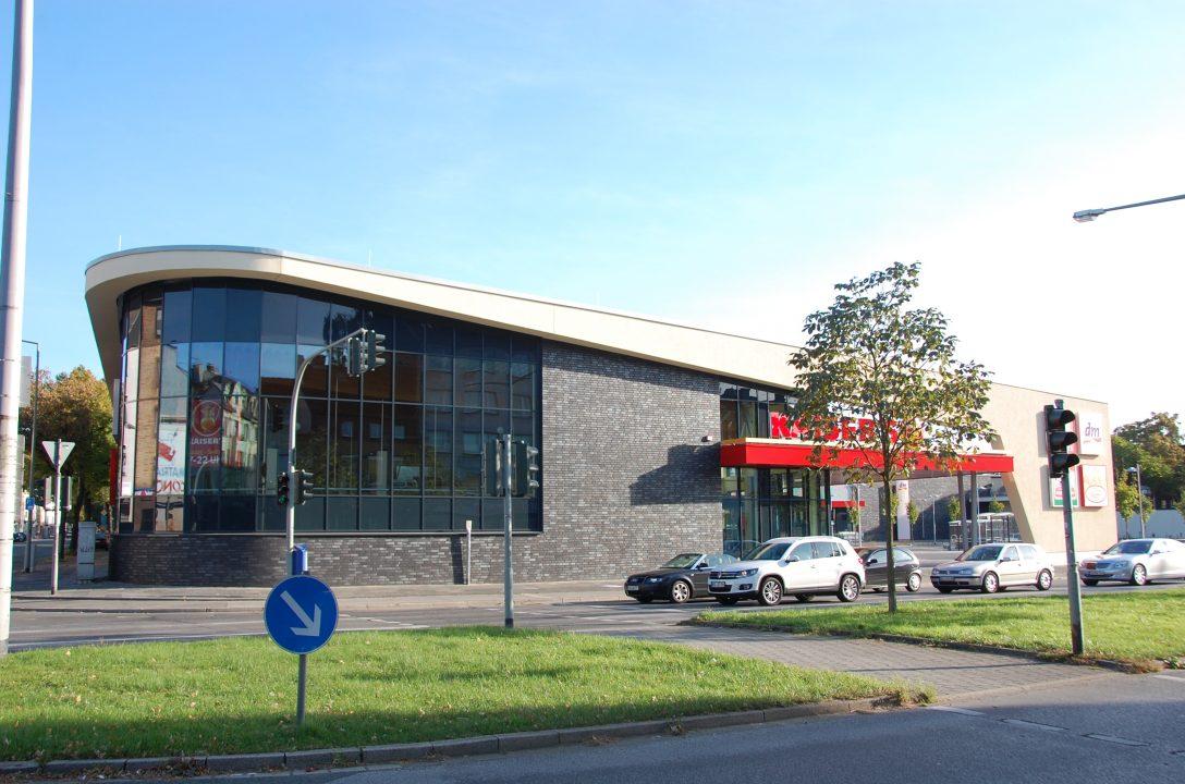 Kaiser's – heute Edeka, DM-Drogeriemarkt, Bäcker-Café und Ernstings-Textilmarkt