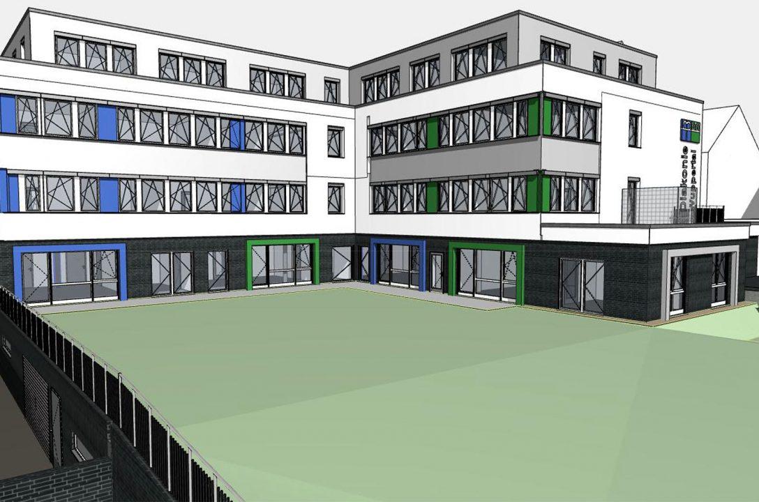 Bürohaus mit KiTa und Tiefgarage für die Diakonie Wuppertal 2.500 m² BGF